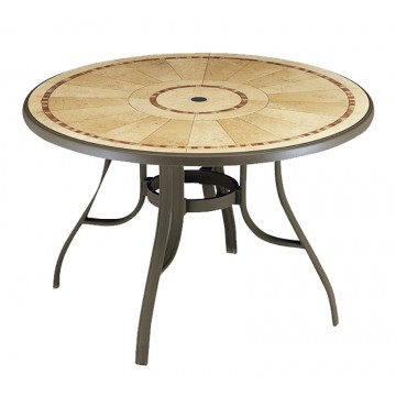 "Louisiana 48"" Round Table Pietra Decor with Bronze Metal Legs"