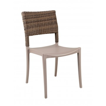 Java Wicker Sidechair French Taupe