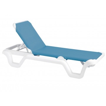 Marina Adjustable Sling Chaise Lounge Sky Blue