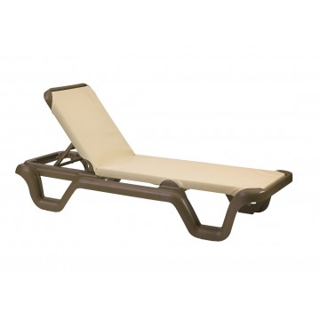 Marina Adjustable Sling Chaise Lounge Khaki/Bronze