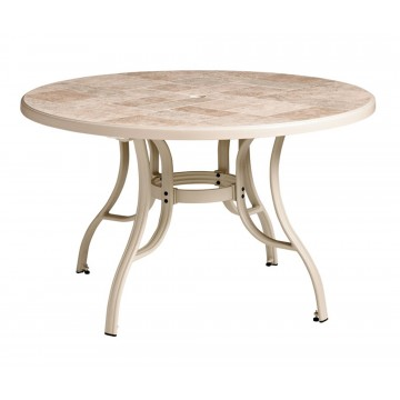 "Louisiana 48"" Round Table Toscana Decor with Sand Metal Legs"