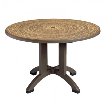 "Aquaba 48"" Round Table Wicker Decor with Bronze Legs"