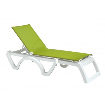 Jamaica Beach Adjustable Sling Chaise Fern Green/White