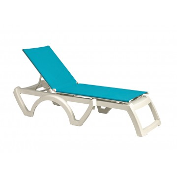 Calypso Adjustable Sling Chaise Turquoise/White