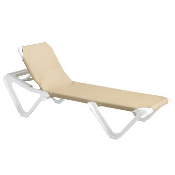 Nautical Adjustable Sling Chaise Khaki/White