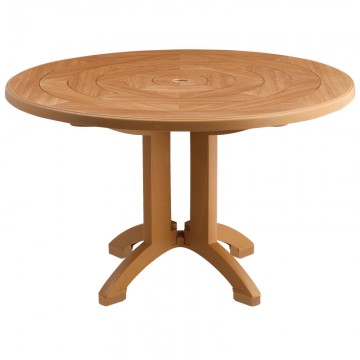 "Aquaba 48"" Round Table Teakwood Decor with Teakwood Legs"