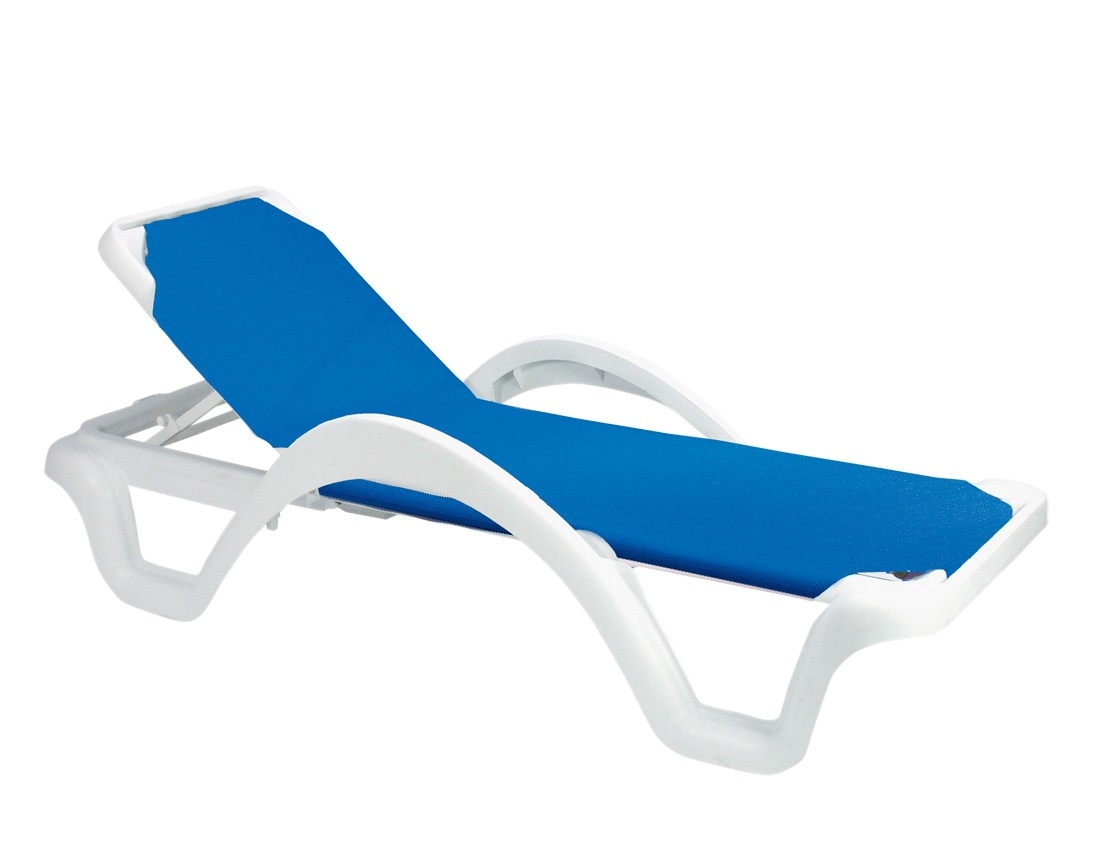 Catalina adjustable sling chaise blue for Blue sling chaise lounge