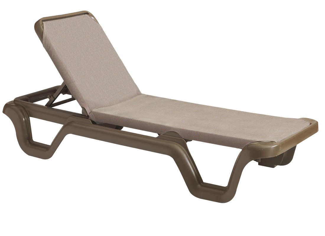 Marina adjustable sling chaise lounge espresso for Chaise coffre