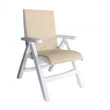 Jamaica Beach Midback Folding Sling Chair Straw/White