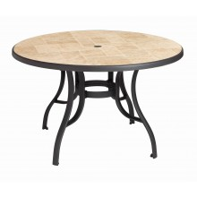 "Louisiana 48"" Round Table Toscana Decor with Charcoal Metal Legs"