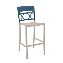 Moon Armless Barstool Denim Blue/Linen