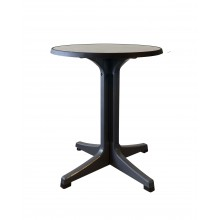 "Omega 24"" Round Table Metal Brushed Decor with Charcoal Legs"