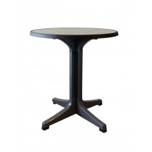 "Omega 28"" Round Table Metal Brushed Decor with Charcoal Legs"