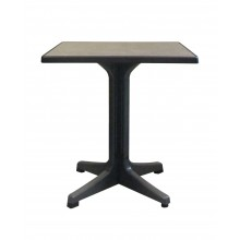 "Omega 28"" Square Table Metal Brushed Decor with Charcoal Legs"