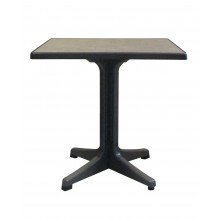 "Omega 32"" Square Table Metal Brushed Decor with Charcoal Legs"