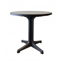 "Omega 34"" Round Table Metal Brushed Decor with Charcoal Legs"