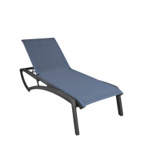 Sunset Chaise Lounge Madras Blue/Volcanic Black