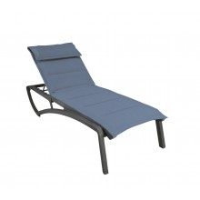 Sunset Comfort Chaise Lounge Madras Blue/Volcanic Black