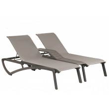 Sunset Duo Chaise Solid Gray/Platinum Gray