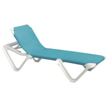 Nautical Adjustable Sling Chaise Turquoise/White