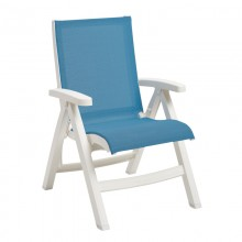 Jamaica Beach Midback Folding Sling Chair Sky Blue/White