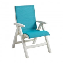 Jamaica Beach Midback Folding Sling Chair Turquoise/White
