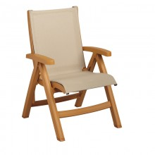 Belize Midback Folding Sling Chair Khaki / Teakwood