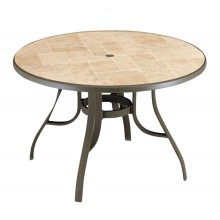 "Louisiana 48"" Round Table Toscana Decor with Bronze Metal Legs"