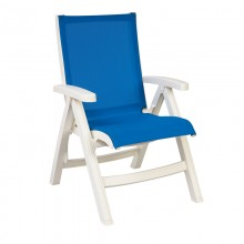 Jamaica Beach Midback Folding Sling Chair Blue/White