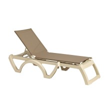 Jamaica Beach Adjustable Sling Chaise French Taupe/Sandstone