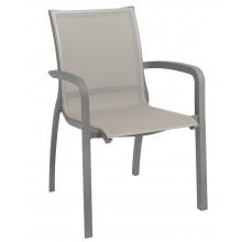 Sunset Stacking Armchair Solid Gray/Platinum Gray