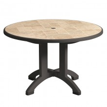 "Aquaba 48"" Round Table Toscana Decor with Charcoal Legs"